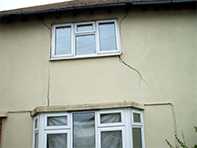 Subsidence of foundations – serious external cracks, Structural Surveyors Sussex